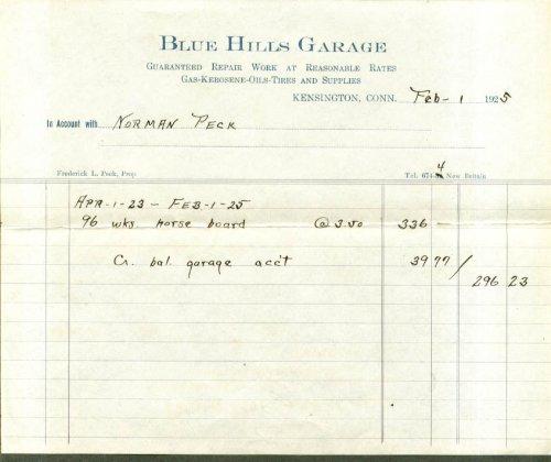blue-hills-garage-kensington-ct-horse-board-bill-1925