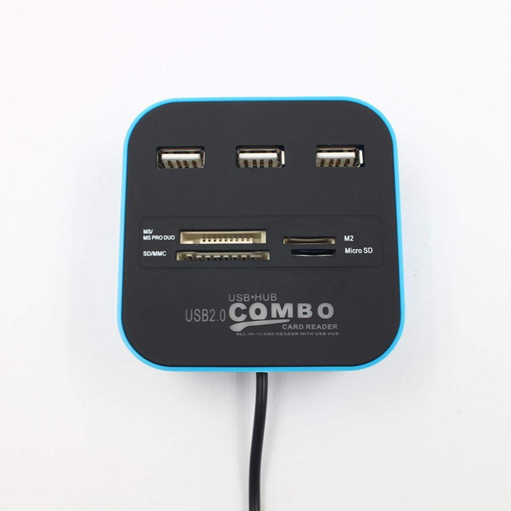Pinsparkle Multifunctional 3 USB Ports High Speed Card Reader and Hub USB Cables