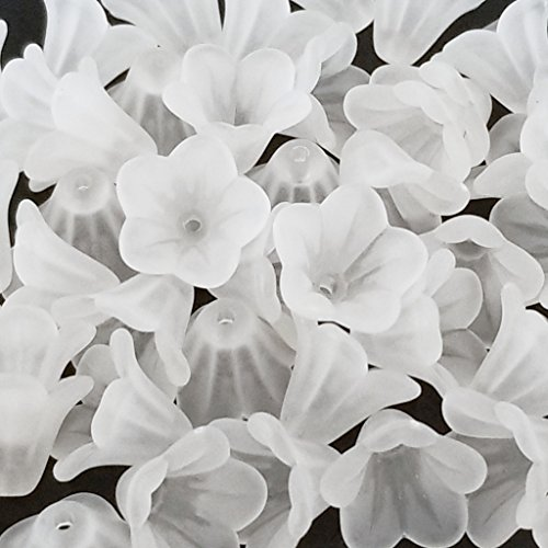 - White Frosted Transparent Acrylic Lucite Bell Flower Beads Caps for Jewelry Making, Crafts - 14mm
