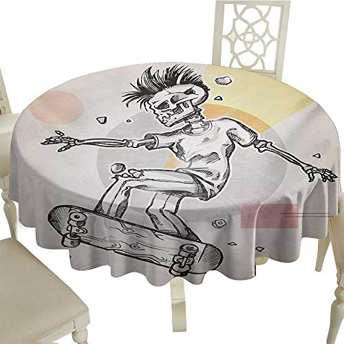 Outdoor Round Tablecloth 65 Inch Skull,Punk Rocker Skeleton Boy on a Skateboard Skiing with Abstract Background,Pale Grey and Cream Great for Buffet Table,Parties,Holiday Dinner & More