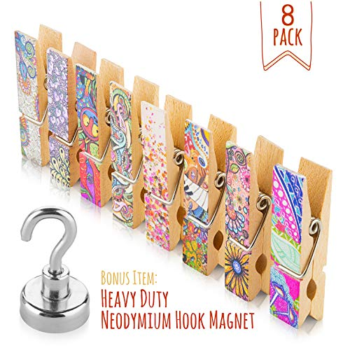 Clothespin Magnet Clips - Fridge Magnets Set - 8 Strong Decorative Magnetic Clips + 1 Magnetic Hook - Display Photos & Memos On a Whiteboard, Refrigerator, Office Or Classroom In Unique & Fun Way By Treats&Smiles