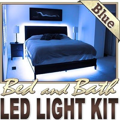 Biltek 16.4' ft Blue Bath Tub Sink Mirror LED Strip Lighting Complete Package Kit Lamp Light DIY - Headboard Closet Make Up Counter Mirror Light Strip Lamp Waterproof 3528 SMD Flexible DIY 110V-220V