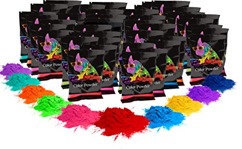 Powder 70g (Holi Color Powder- 100 pack. 70g each. 10 of each color. Red, Yellow, Navy Blue, Green, Orange, Purple, Pink, Magenta, True Blue, Aquamarine Chameleon Colors)