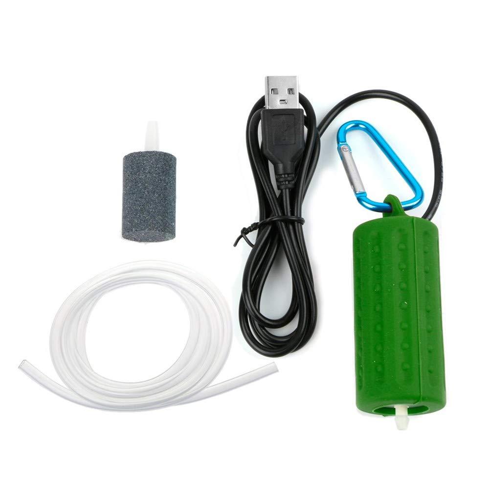 Aquarium Air Pump, USB Portable Fish Air Pump Aquarium Circulation Pump Mute Energy Save Compressor, Quietest High Energy Saving Oxygen Pump,Green,2pcs