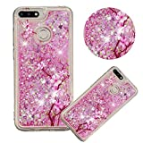 Glitter Painting Quicksand Case for Xiaomi Redmi 6,Soft Clear TPU Case for Xiaomi Redmi 6A,Moiky Creative Cherry Blossoms Pattern Painted Liquid Sparkly Quicksand Crystal Transparent Protective Case