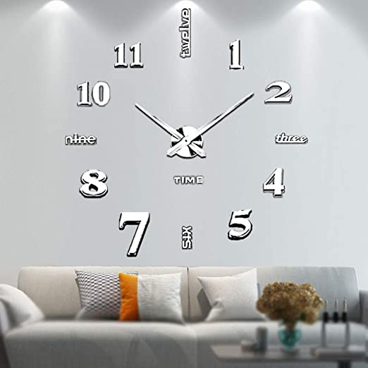 Amazon Com Vangold Large Diy Wall Clock Modern 3d Wall Clock With Mirror Numbers Stickers For Home Office Decorations Gift Home Kitchen