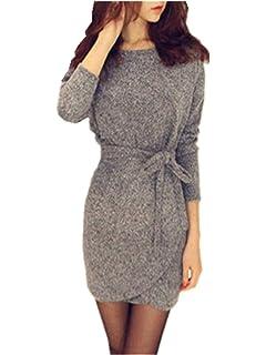 Minetom Damen Herbst Winter Strick Pullover Sweater Party Tunika Longshirt  Mini Kleid Cardigan Grau Strickkleid 95ea198439