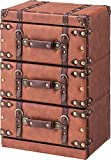 AZUMAYA IW-273 Chest 3-Drawer Brown Synthetic Leather Finish Storage