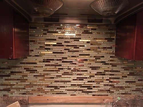 Luxury Rose Gold Stainless Steel And Foil Glass Linear Mosaic Tiles for Kitchen Backsplash/Bathroom decor,SA047-40 (Box of 10.76 sq ft) by LANDS GLASS METAL TILES (Image #4)