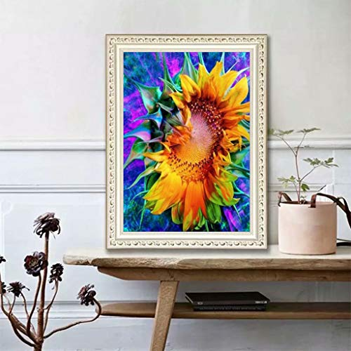 WISREMT DIY Diamond Painting Kit Full Drill Embroidery Cross Stitch Arts Craft Canvas Wall Home Decor Craft for Adults or Kids 30x40CM (Single Sunflower, 11.8