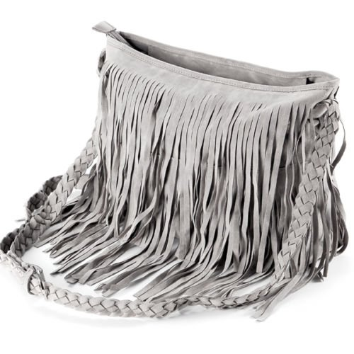 The Pecan Man Grey Faux Suede Cross Body Bag Messenger Layered Fringed Women Shoulder - Outlets Jackson Polo