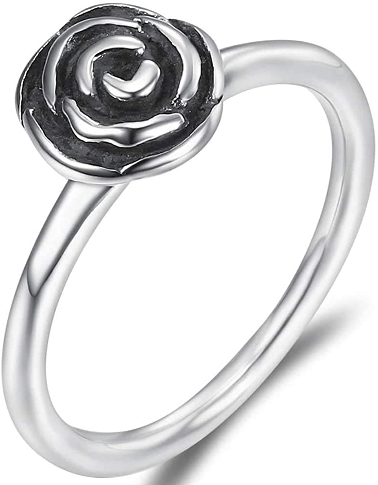Jude Jewelers Retro Vintage Stainless Steel Rose Flower Floral Statement Promise Anniversary Ring