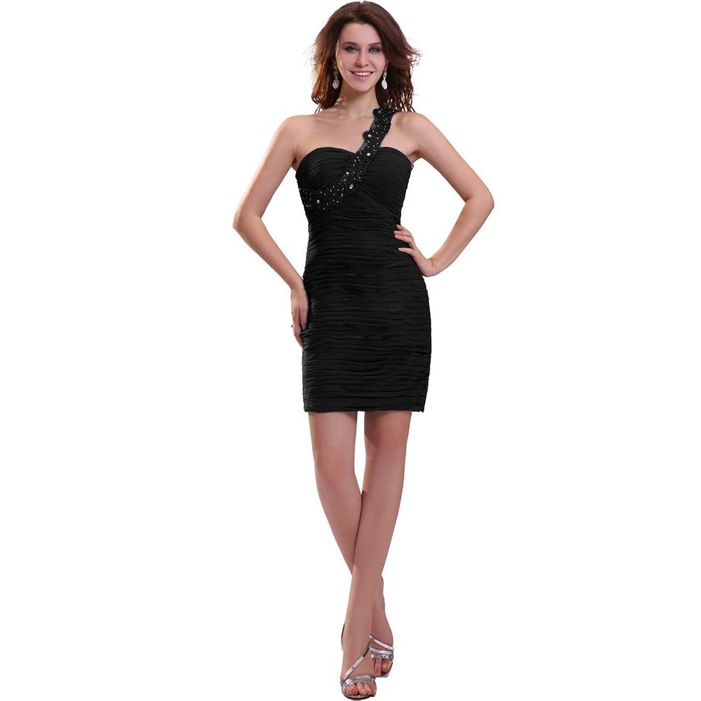 Dearta Women's Sheath/Column One-Shoulder Short/Mini Taffeta Cocktail Dresses