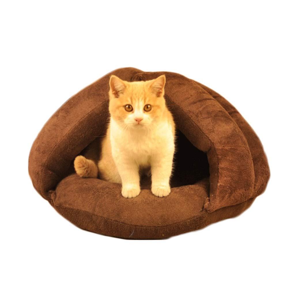 BROWN L BROWN L Pet Nest Cat Litter Cat House Sleeping Bag Pet Supplies hot Dog House Large (Colore: Brown, Dimensione: L)