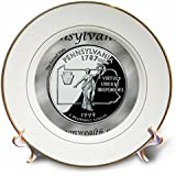 3dRose cp_120116_1 State Quarter Pennsylvania Porcelain Plate, 8-Inch