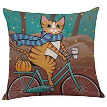 Clearance!Napoo Cute Cat Pattern Pillow Case Cushion Cover For Sofa Bed Home Festival 43cm43cm (X)