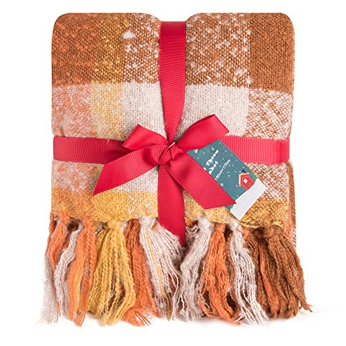 G Lake Orange Plaid Blanket Throw Acrylic Soft Reversible Dyed Fringed Bed Blanket for Christmas Decorations 50