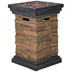 Firepits Peaktop HF29402A Square Column Propane Gas Fire Pit Outdoor Garden Slate Rock, 20 Inches, Brown firepits