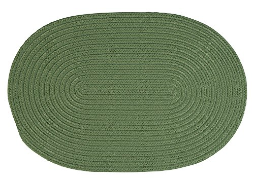 Super Area Rugs Tropics Indoor/Outdoor Braided Reversible Area Rug, 2' x 3' Oval, Solid Moss (Oval Moss Green Area Rugs)