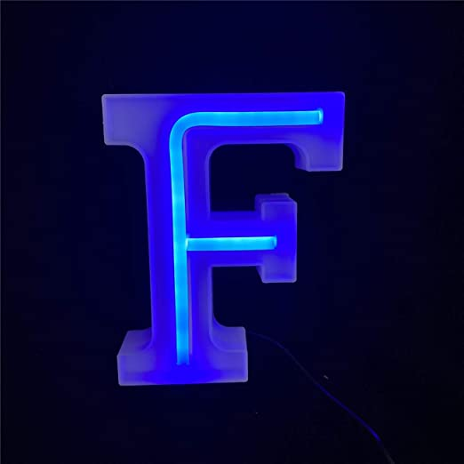 Nordstylee Light Up LED Letters Lights,Neon Letters Night Lights for Wall, Birthday Party, Christmas, Wedding Decoration-Blue Letters (F)
