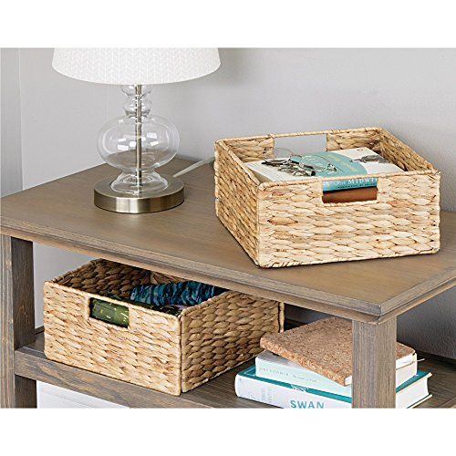 mDesign Natural Woven Hyacinth Closet Storage Organizer Bin - Half Height Cube - Handles, Collapsible, for Closet, Bedroom, Bathroom, Entryway, Office - 5.25'' High, 4 Pack, Steel Frame, Natural by mDesign (Image #2)