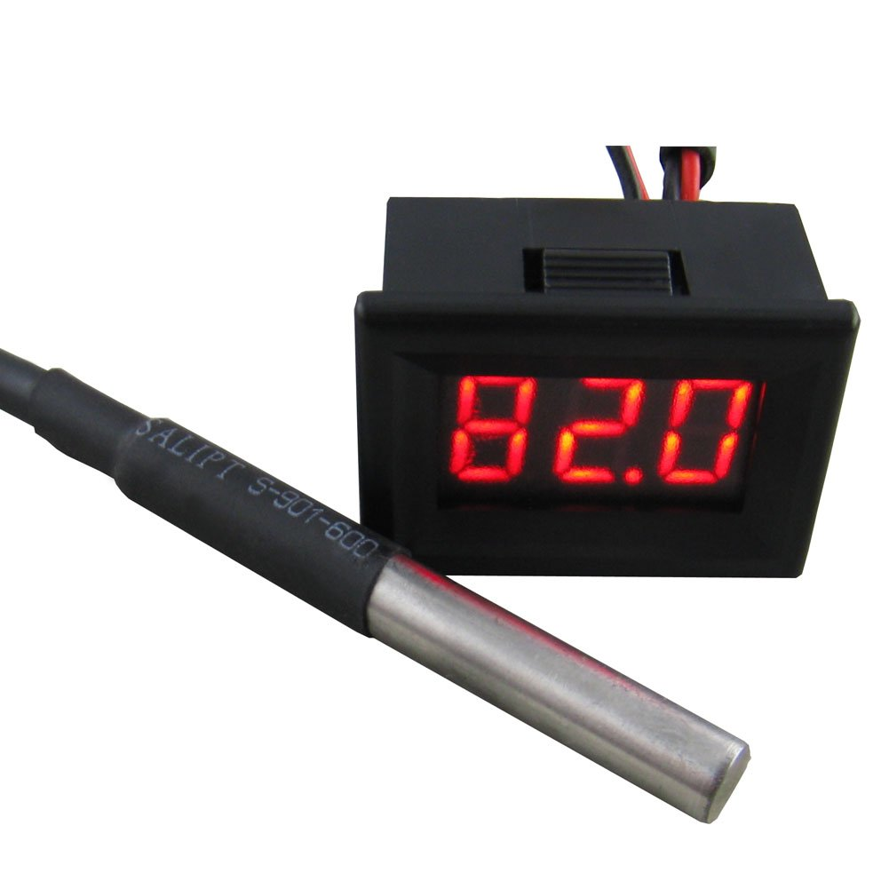 Yeeco 0.36'' -55-125°C Red LED Digital Thermometer Temperature Gauge Panel Temp Measure with 18B20 Waterproof Temp Probe Black Shell for Air/Water/Pond