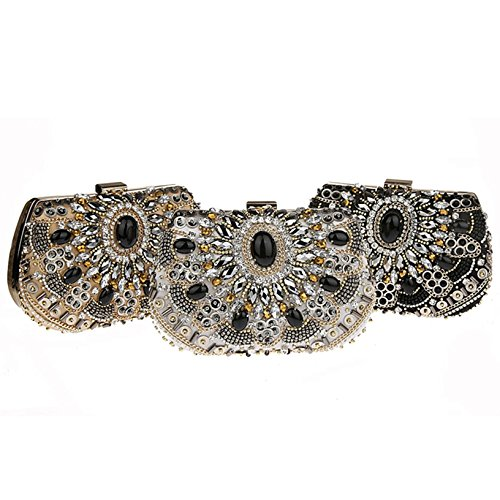 Toyofmine Women Crystal Rhinestone Evening Bridal Clutch Bag Fashion Handbag