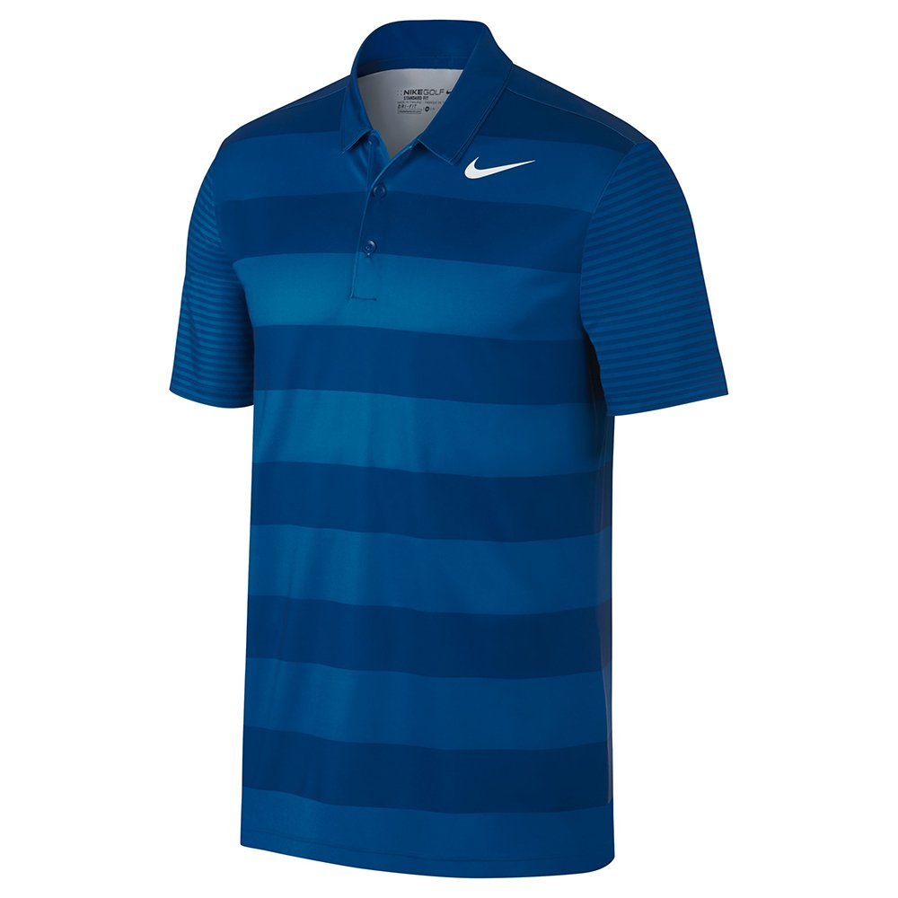 Nike Men's Dry Bold Stripe Golf Polo (Blue Jay/White, Medium)