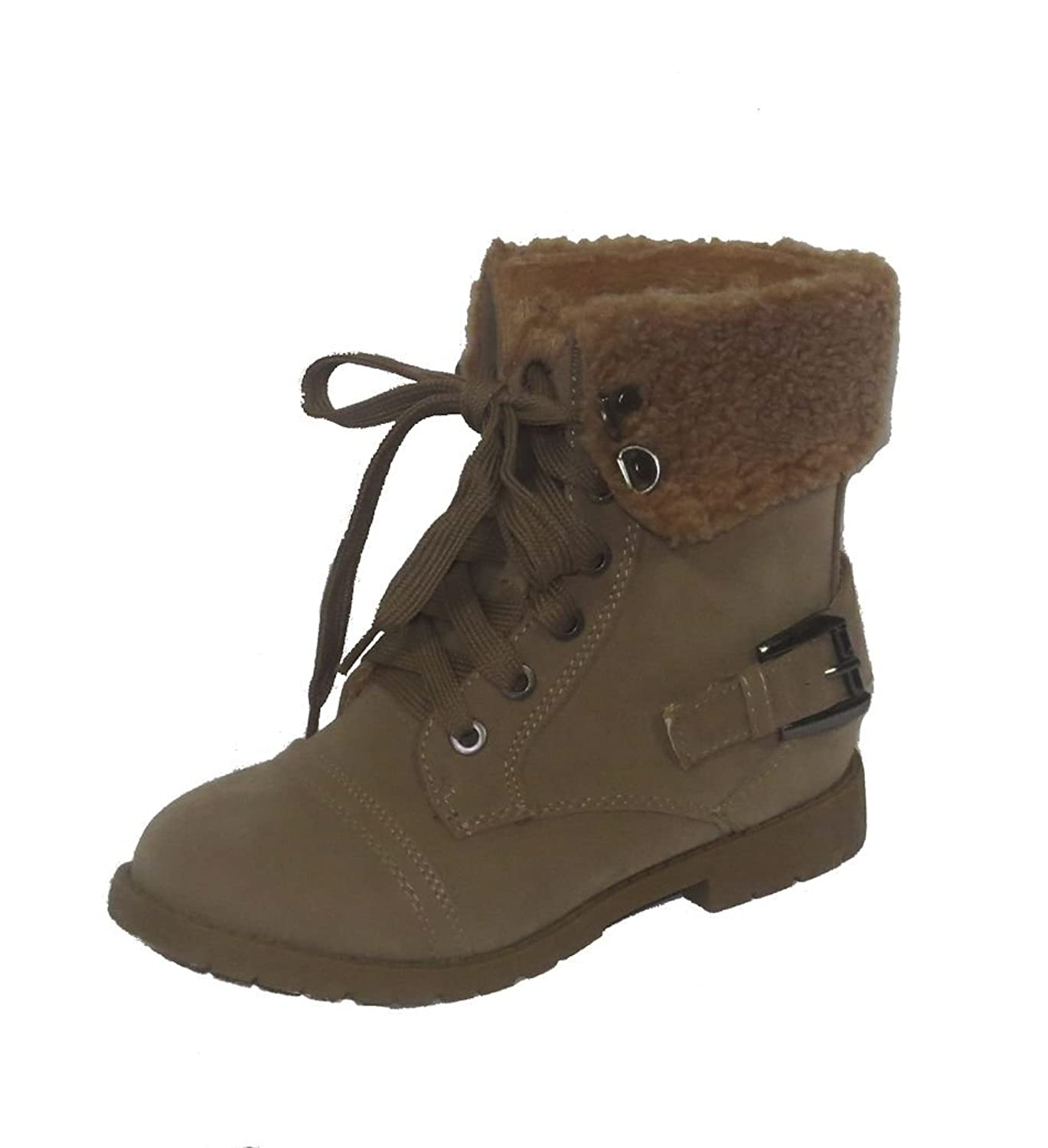 Lucky Top Girls' Suede Combat Lace Up Boots with Sherling Accent.