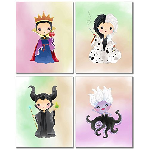 Disney Evil Queens Art Prints - Girl's Room Wall Decor Photos - Set of 4 (8 inches x 10 inches) Maleficent Ursula -