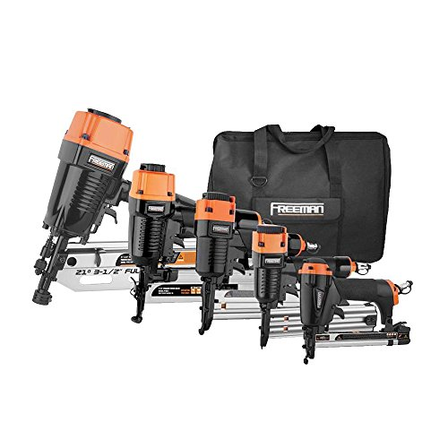 Freeman P5FRFNFWSCB 5 Piece Framing/Finish Nail Gun Kit Set of 5 Pneumatic Nail Guns with Framing Nailer, Finish Nailer, Brad nailer, Narrow Crown Stapler, Fine Wire Stapler ()