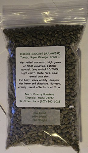 Celebes Kalossi (Sulawesi) ~ Green (Raw, Unroasted) Coffee Beans ~ Fresh, New Crop ~ Free Shipping ~ (3 Pounds)
