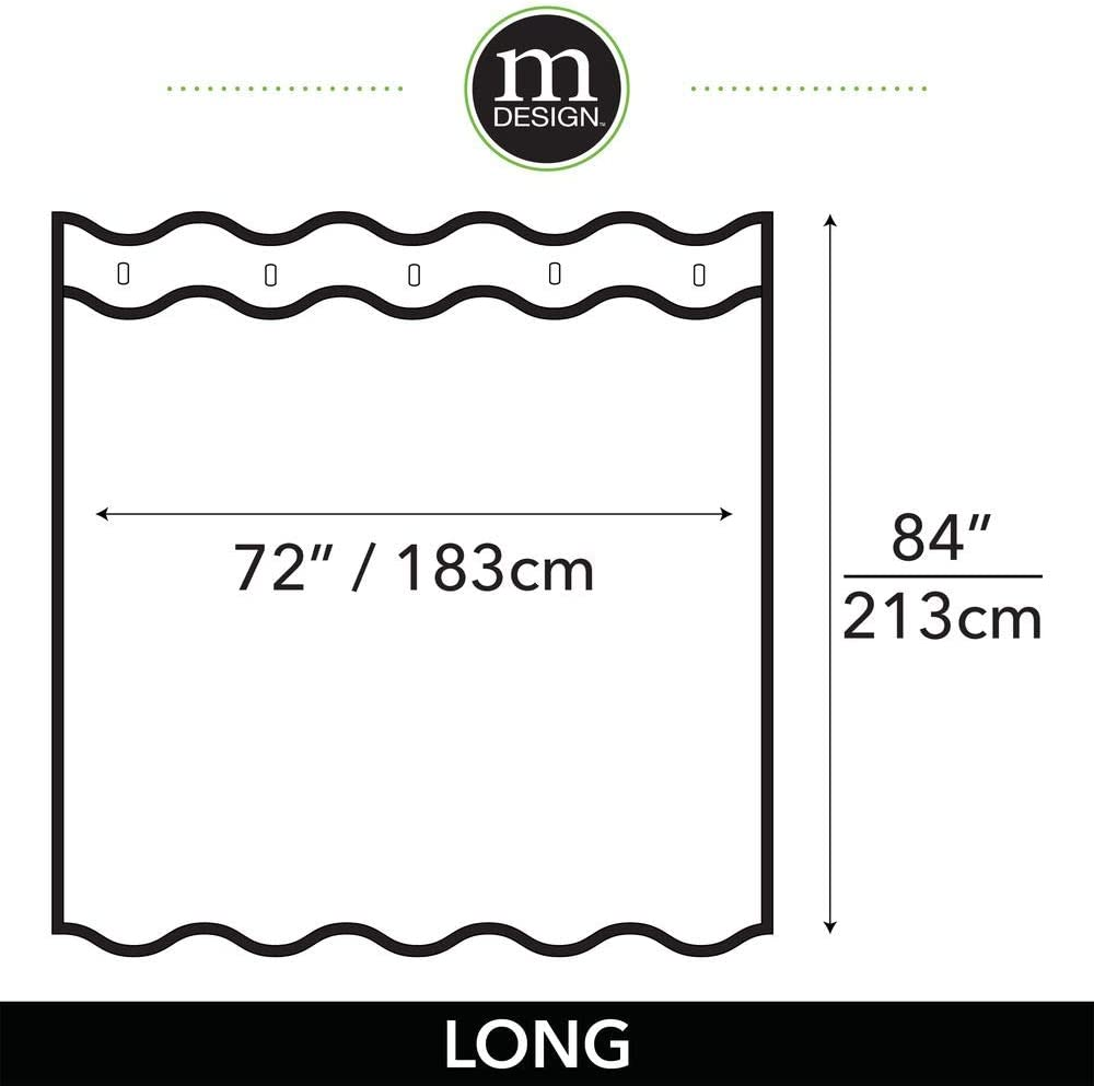 Mildew Resistant 72 x 84 Heavy Duty Flat Weave Fabric Shower Curtain mDesign Long Water Repellent Liner Weighted Bottom Hem for Bathroom Shower and Bathtub Cloud Gray
