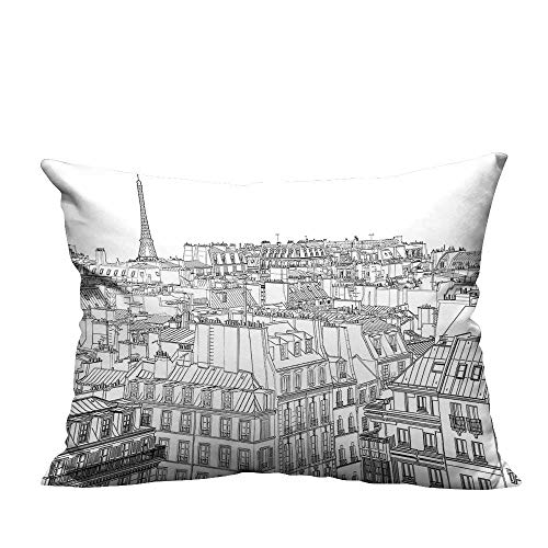 Ali Ro Silk - YouXianHome Home Decor Pillowcase Ro in and Eiffel Tower Print Black and White Durable Polyester Fabric(Double-Sided Printing) 19.5x60 inch