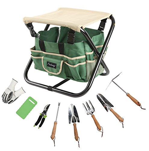 Finnhomy 10 Piece All-In-One Garden Tool Set Garden Folding Stool Seat with 1 Tote Bag, 5 Chrome Steel Garden Tools, 1 Pruning Shears, 1 Foam Kneeling Pad and 1 Pair (Shears Gift Set)