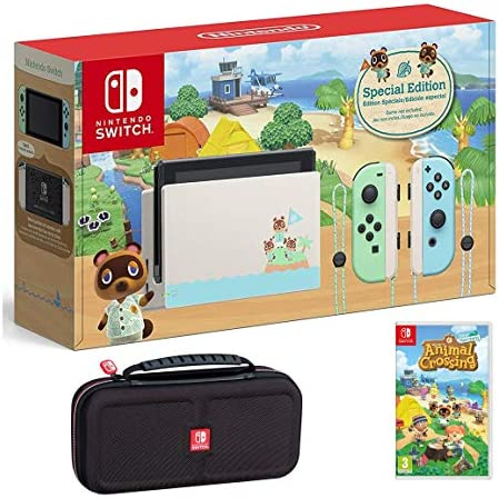 Nintendo Switch Bundle w/Game & Case: Nintendo Switch Animal Crossing New Horizons Edition 32GB Console, Animal Crossing New Horizons Game, Tigology Travel Case