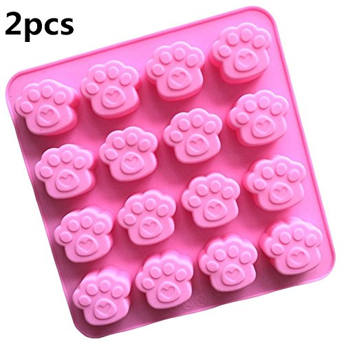 Sharlity 2 Pack 16 Cavity Paw Print Silicone Non Stick Cake Bread Mold Chocolate Candy Mould