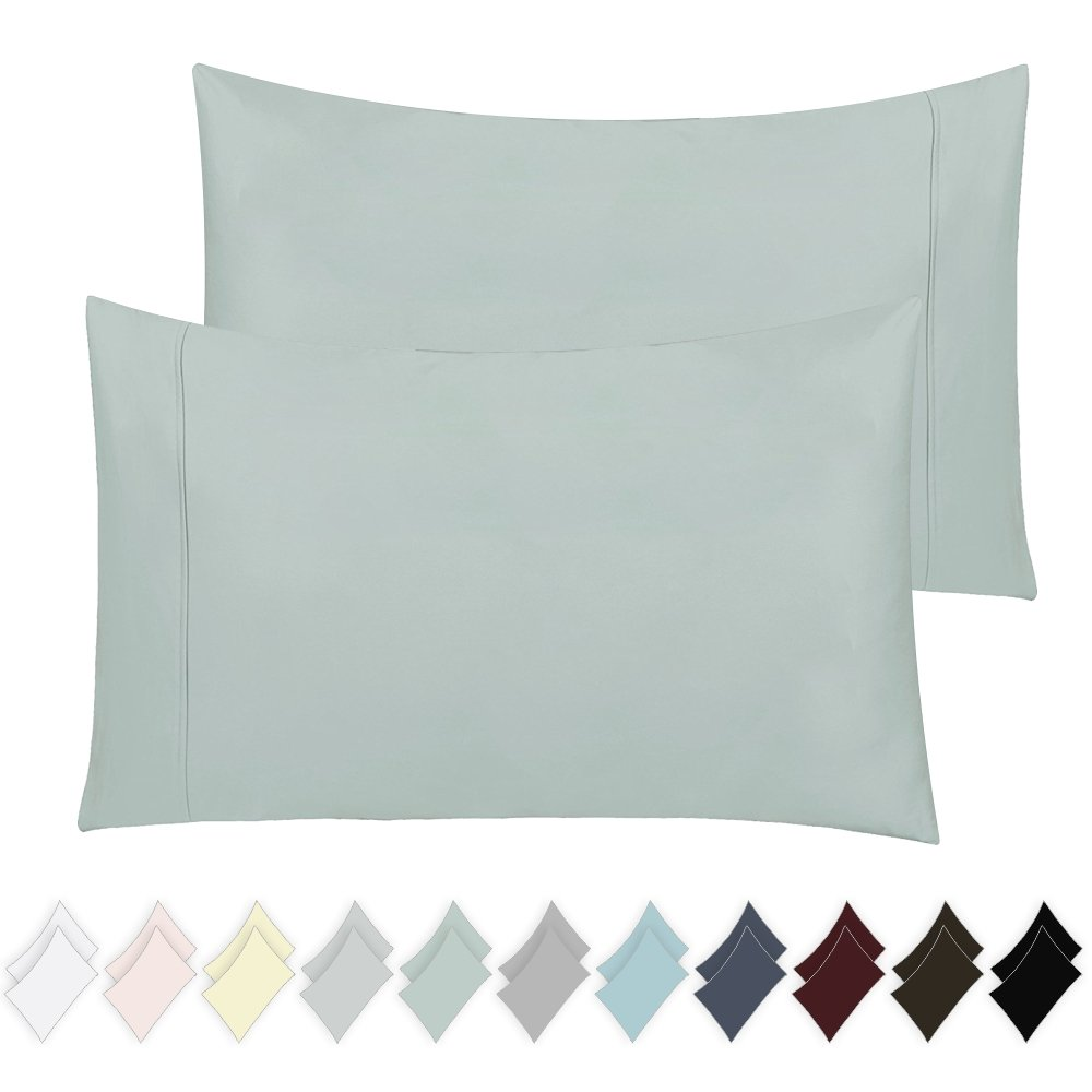 California Design Den 400 Thread Count 100% Cotton Pillow Cases, Mod Spa King Pillowcase Set of 2, Long - Staple Combed Pure Natural Cotton Pillowcase, Soft & Silky Sateen Weave by