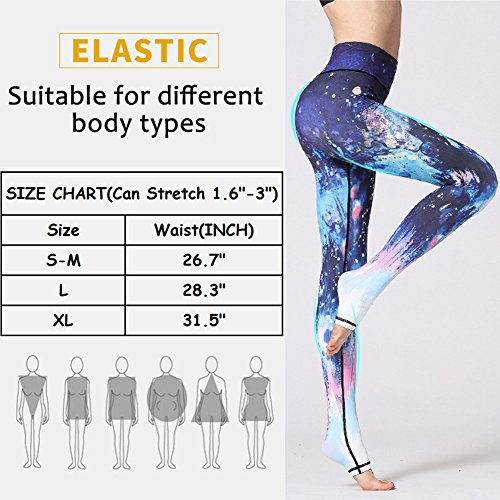 ZISUEX Yoga Pants Capri High Waisted Legging Workout Printed Stretchy Sport Fitness Riding Running Activewear