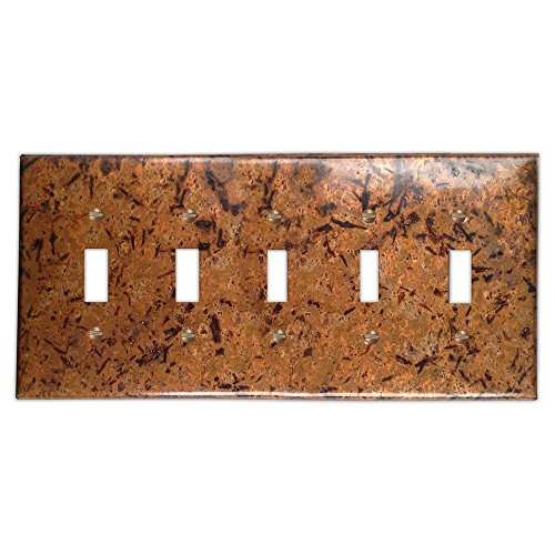 Distressed Light Copper 5 Toggle Wallplate ()