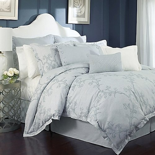 Charisma Adina Queen Comforter Set, Grey Blue Floral, Linen Blend ()