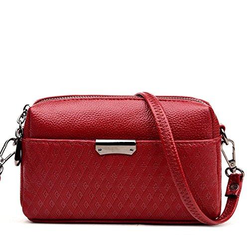 Moda De Las Señoras Top Handle Bolso De Hombro En Relieve Bolsa De Geometría De Crossbody Multicolor Red