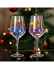 Hapeisy Colored Red Wine Glasses Set of 2, Rainbow Color Long Stem Wine Glasses Hand Blown Classic Champagne Flutes for Wife Birthday Wedding