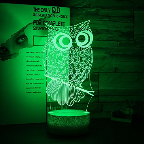 Gift Ideas Owl Night Lights 3D Illusion Lamp Animal Light Led Desk Lamps Anniversary Gifts for Baby Kids Home Decor Office Bedroom Wedding Party Decorations Nursery Lighting 7 Color Crackle Paint Base For Sale