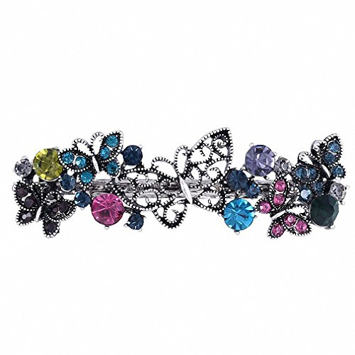- Womens Barrettes Vintage Metal Butterfly Hairpin Clips Ornaments Retro Rhinestone Crystal Barrettes Hairwear Hair Accessories Multicolor