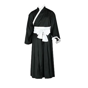 727ce604d Dream2Reality Japanese Anime Bleach Cosplay Costume - Ichigo Kurosaki Kimono  Black Kid Size Large: Amazon.co.uk: Toys & Games