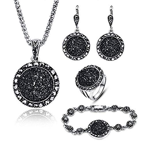 LUYUAN JEWELRY 4 Packs Hoop Pendant Simulated Diamond Sparkly Jewelry Sets with Bracelet - Ring Size #7 Black Rhinestone Jewelry Set