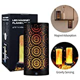 Retro LED Magnet Flame Effect Light, Rechargeable Simulated Flickering 3D Flame Lamp, Vintage Atmosphere Flaming Light for Bar/Hotel/Cafe/Restaurants Decor