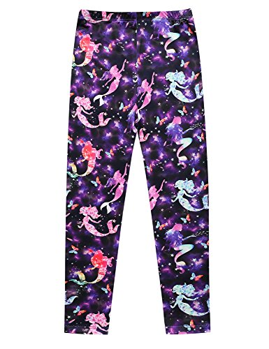 Jxstar Casual Leggings for Girls Back to School Clothing for Fall Winter Comfort Leggings fit Pants Clothes Leggings Starry Mermaid 140 -