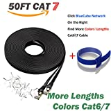 BlueCube Network - Flat CAT7 Ethernet Cable,600MHz Shielded SSTP Bare Copper Flat Ethernet Patch Cable, Internet Cable, Network Cable with Snagless RJ45 Connectors - 50 Feet Black++